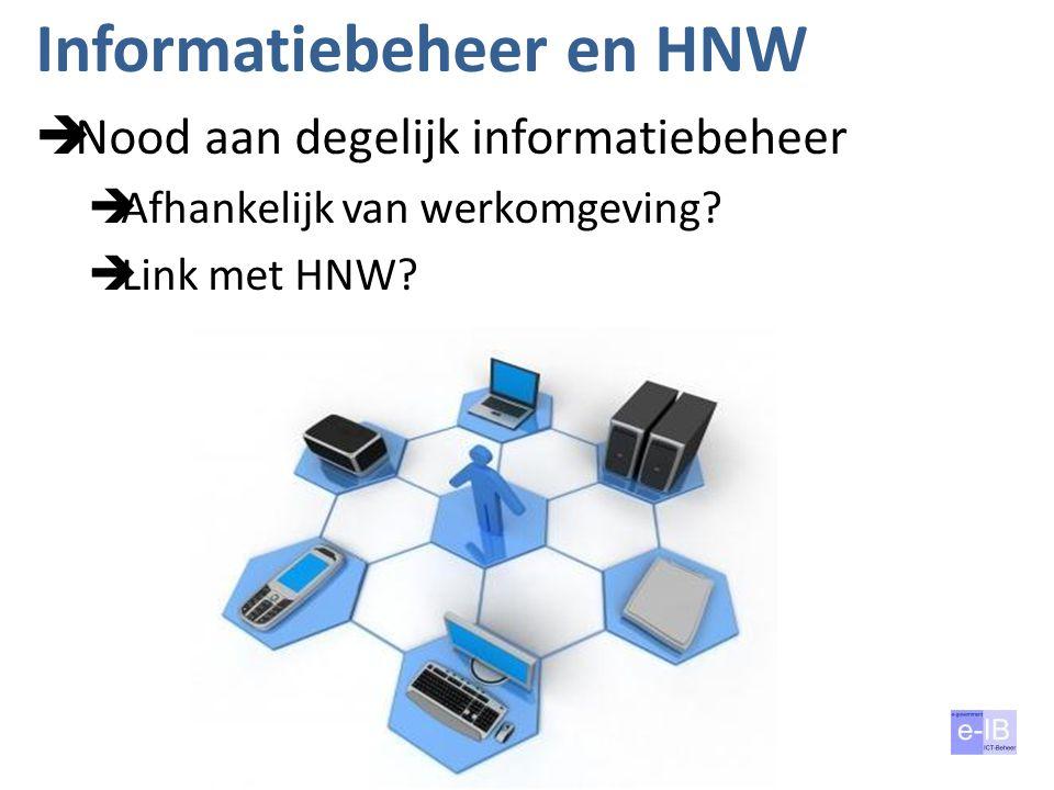 Informatiebeheer en HNW  Nood aan degelijk informatiebeheer  Afhankelijk van werkomgeving?  Link met HNW?