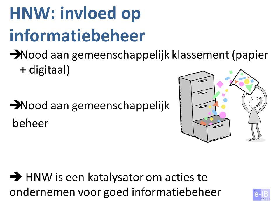 HNW: invloed op informatiebeheer  Nood aan gemeenschappelijk klassement (papier + digitaal)  Nood aan gemeenschappelijk beheer  HNW is een katalysa