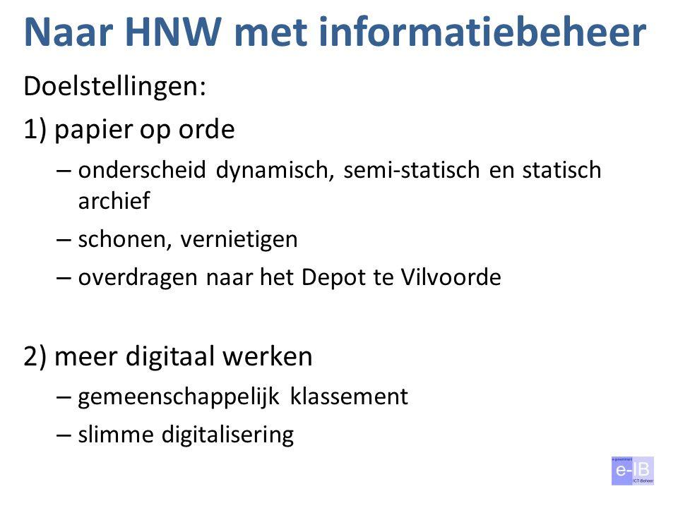 Naar HNW met informatiebeheer Doelstellingen: 1) papier op orde – onderscheid dynamisch, semi-statisch en statisch archief – schonen, vernietigen – ov