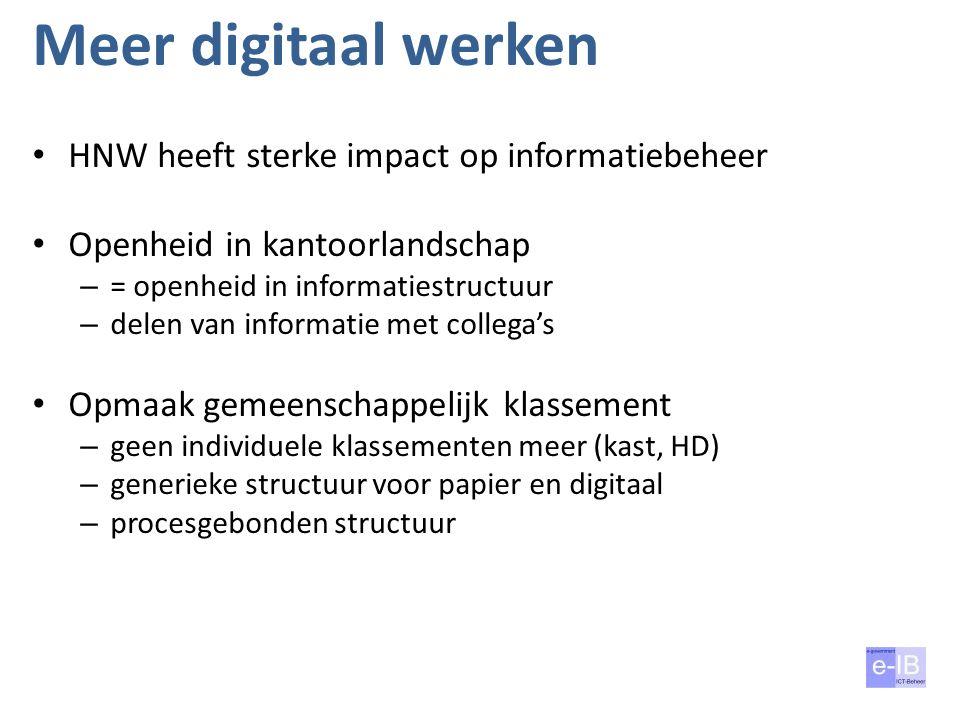 Meer digitaal werken HNW heeft sterke impact op informatiebeheer Openheid in kantoorlandschap – = openheid in informatiestructuur – delen van informat