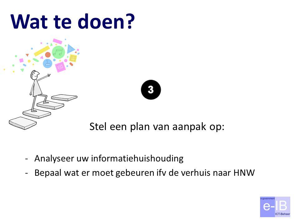 Wat te doen? Stel een plan van aanpak op: -Analyseer uw informatiehuishouding -Bepaal wat er moet gebeuren ifv de verhuis naar HNW