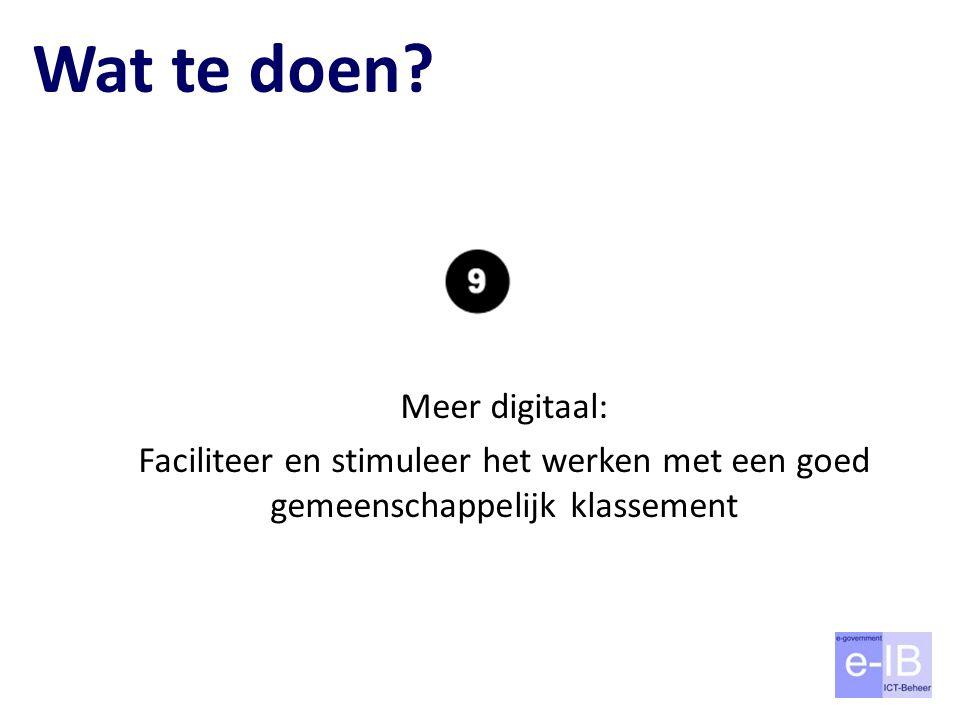 Wat te doen? Meer digitaal: Faciliteer en stimuleer het werken met een goed gemeenschappelijk klassement