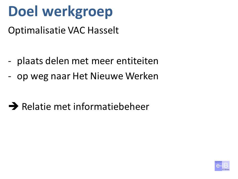 Doel werkgroep Optimalisatie VAC Hasselt -plaats delen met meer entiteiten -op weg naar Het Nieuwe Werken  Relatie met informatiebeheer