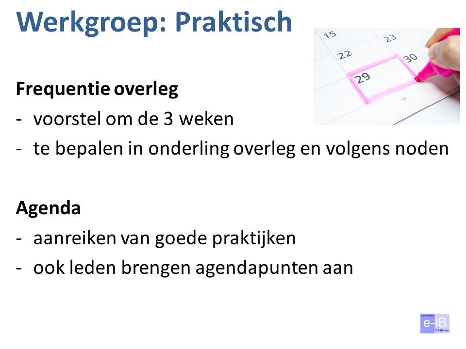 Werkgroep: Praktisch Verslag -geen uitgeschreven verslag -bespreking wordt in telegramstijl aangevuld in de presentatie -(te evalueren) Opvolging -doorgeven stand van zaken -aan de hand van checklist