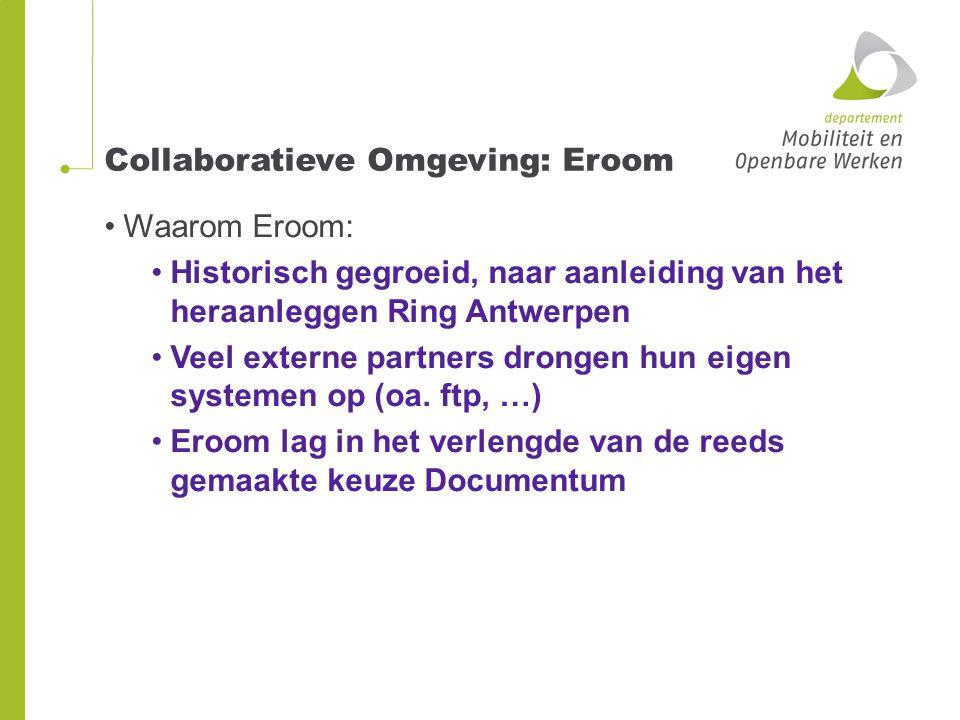 Collaboratieve Omgeving: Eroom Waarom Eroom: Historisch gegroeid, naar aanleiding van het heraanleggen Ring Antwerpen Veel externe partners drongen hun eigen systemen op (oa.