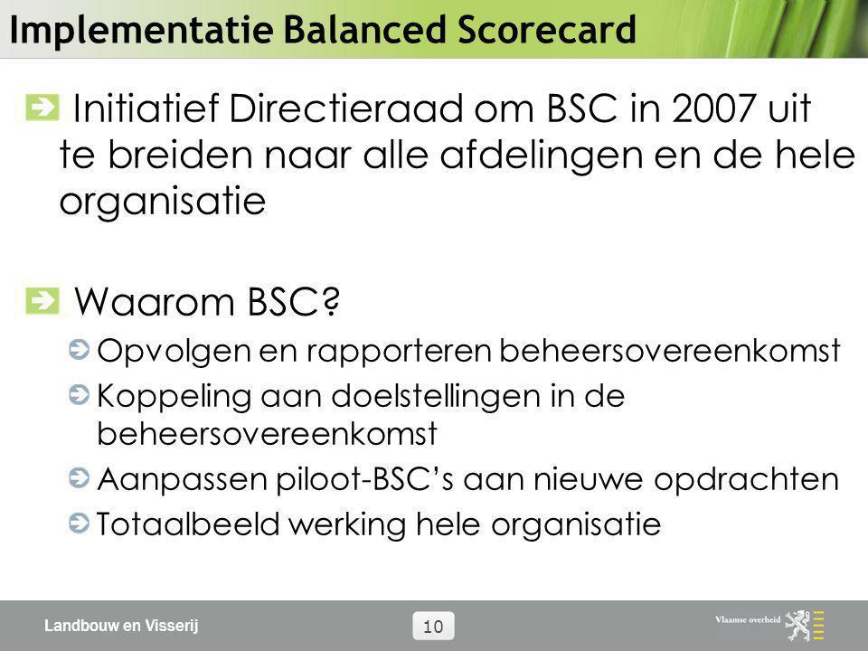 Landbouw en Visserij 10 Implementatie Balanced Scorecard Initiatief Directieraad om BSC in 2007 uit te breiden naar alle afdelingen en de hele organis