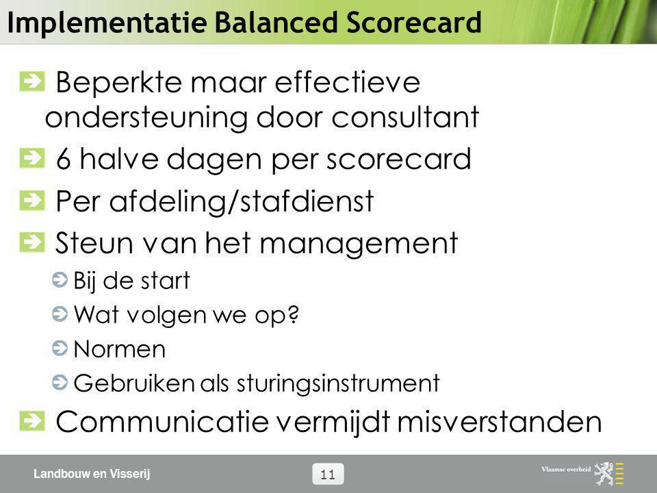 Landbouw en Visserij 11 Implementatie Balanced Scorecard Beperkte maar effectieve ondersteuning door consultant 6 halve dagen per scorecard Per afdeli