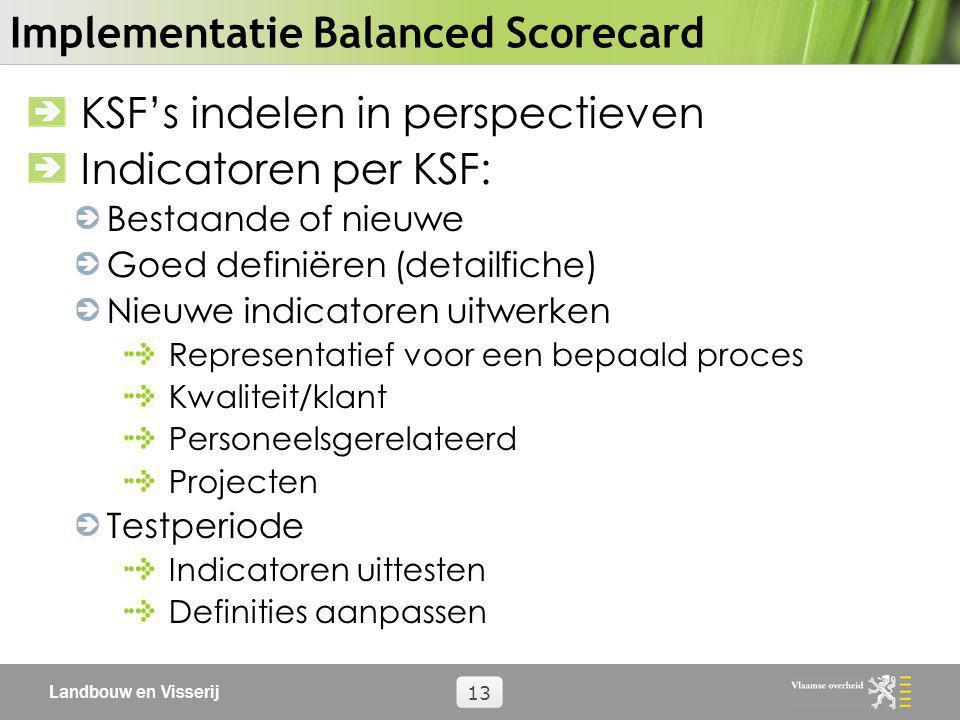 Landbouw en Visserij 13 Implementatie Balanced Scorecard KSF's indelen in perspectieven Indicatoren per KSF: Bestaande of nieuwe Goed definiëren (deta