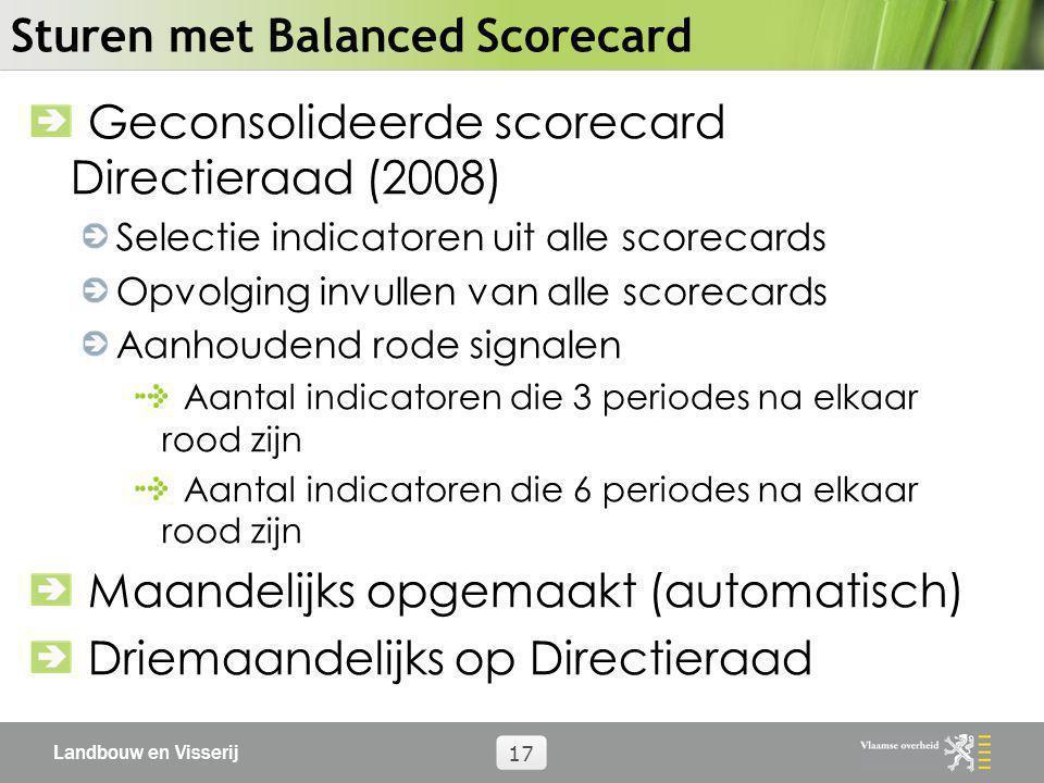Landbouw en Visserij 17 Sturen met Balanced Scorecard Geconsolideerde scorecard Directieraad (2008) Selectie indicatoren uit alle scorecards Opvolging