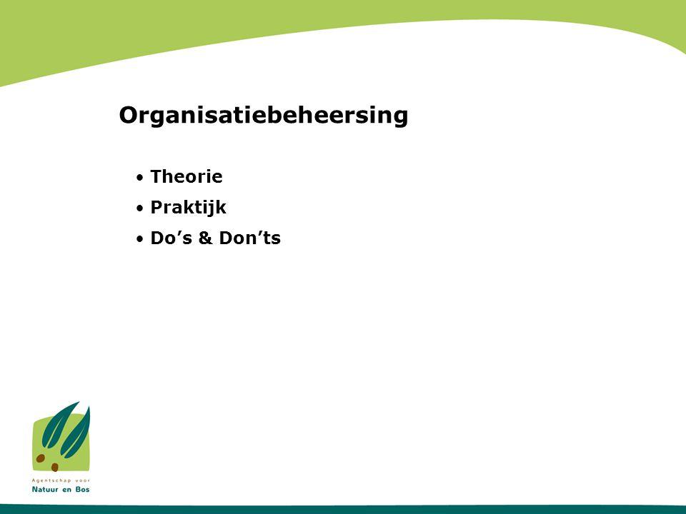 Theorie EFFECTIVITEIT Organisatiebeheersing EFFICIENTIE KWALITEITKWALITEIT INTEGRITEITINTEGRITEIT