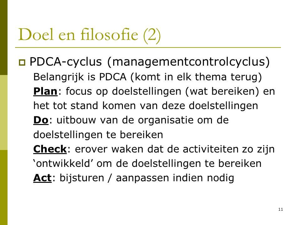 11 Doel en filosofie (2)  PDCA-cyclus (managementcontrolcyclus) Belangrijk is PDCA (komt in elk thema terug) Plan: focus op doelstellingen (wat berei