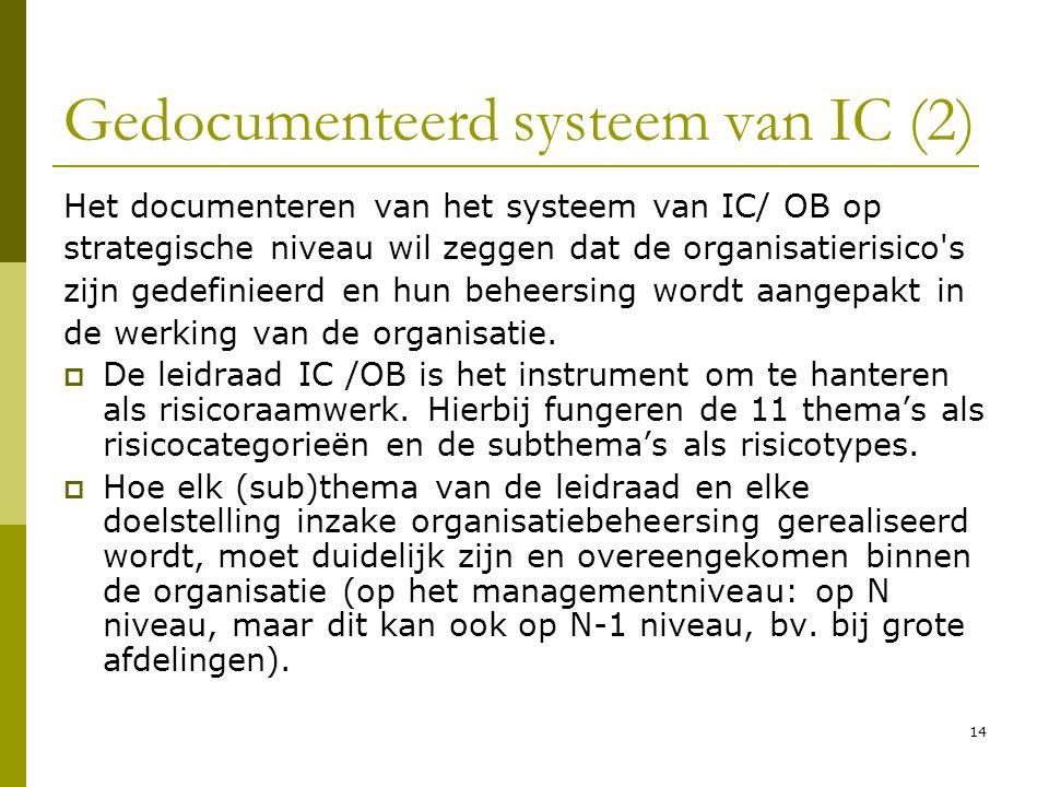 14 Gedocumenteerd systeem van IC (2) Het documenteren van het systeem van IC/ OB op strategische niveau wil zeggen dat de organisatierisico's zijn ged