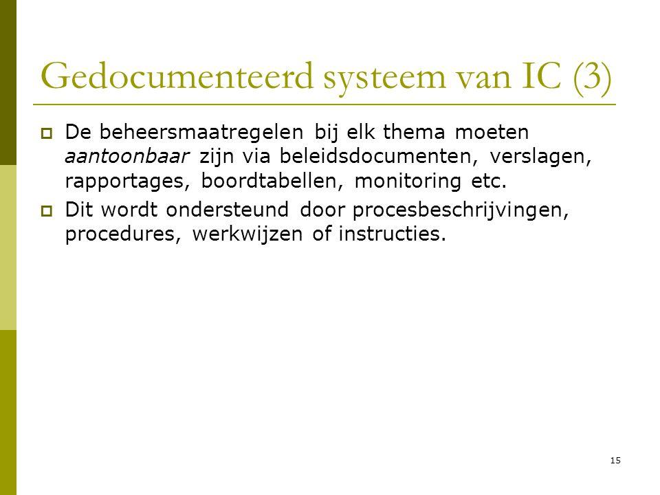 15 Gedocumenteerd systeem van IC (3)  De beheersmaatregelen bij elk thema moeten aantoonbaar zijn via beleidsdocumenten, verslagen, rapportages, boor