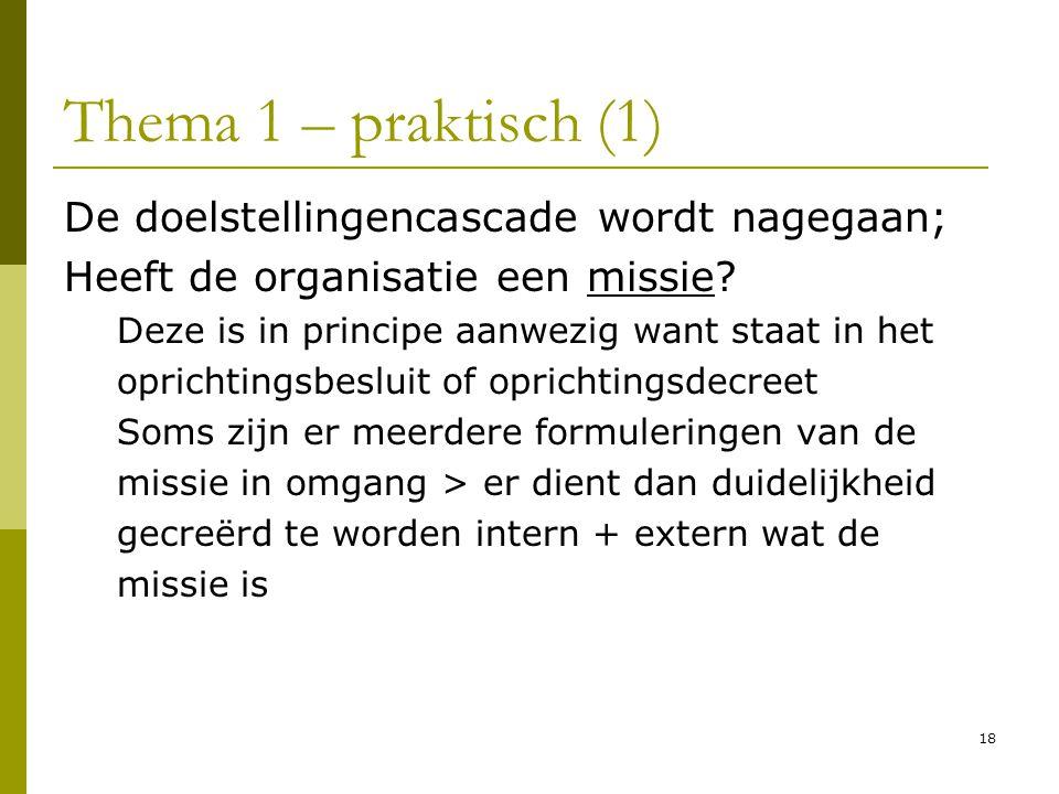 18 Thema 1 – praktisch (1) De doelstellingencascade wordt nagegaan; Heeft de organisatie een missie? Deze is in principe aanwezig want staat in het op