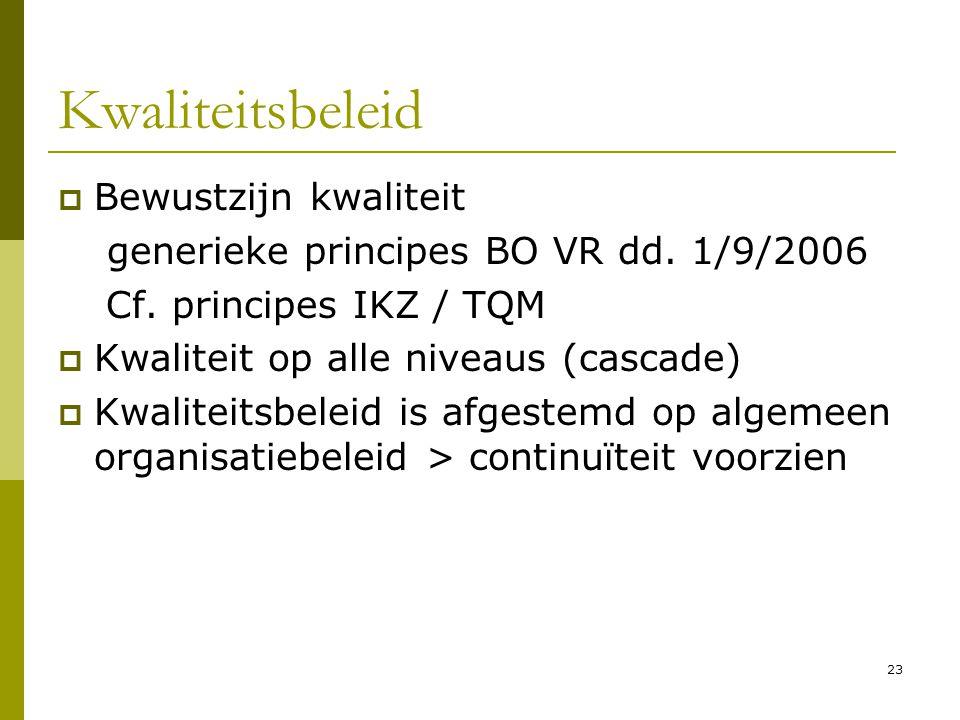 23 Kwaliteitsbeleid  Bewustzijn kwaliteit generieke principes BO VR dd. 1/9/2006 Cf. principes IKZ / TQM  Kwaliteit op alle niveaus (cascade)  Kwal