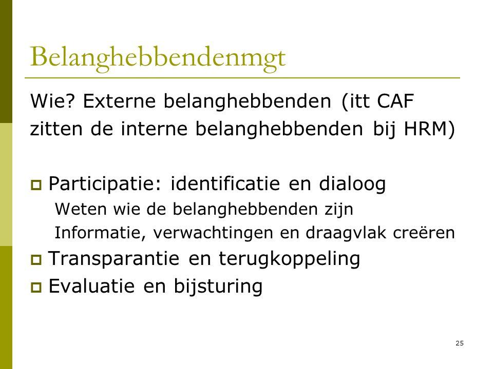 25 Belanghebbendenmgt Wie? Externe belanghebbenden (itt CAF zitten de interne belanghebbenden bij HRM)  Participatie: identificatie en dialoog Weten