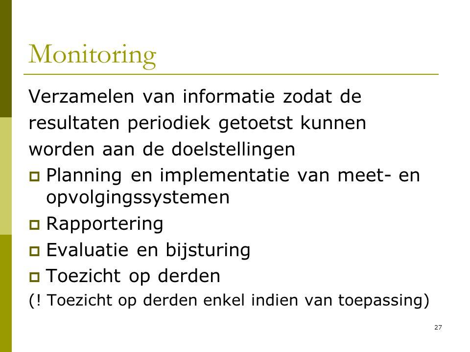 27 Monitoring Verzamelen van informatie zodat de resultaten periodiek getoetst kunnen worden aan de doelstellingen  Planning en implementatie van mee