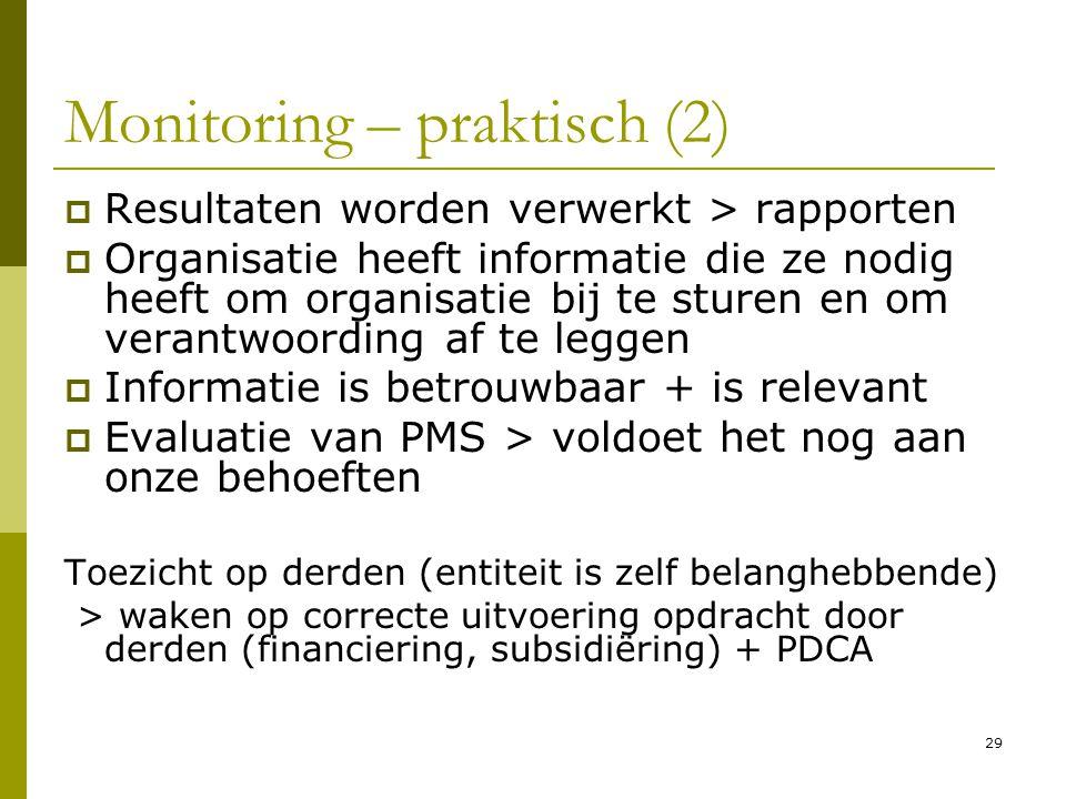 29 Monitoring – praktisch (2)  Resultaten worden verwerkt > rapporten  Organisatie heeft informatie die ze nodig heeft om organisatie bij te sturen