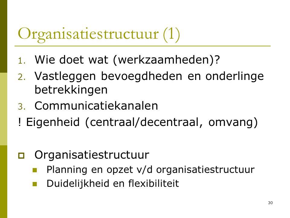 30 Organisatiestructuur (1) 1. Wie doet wat (werkzaamheden)? 2. Vastleggen bevoegdheden en onderlinge betrekkingen 3. Communicatiekanalen ! Eigenheid