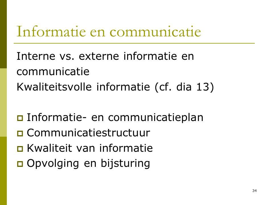 34 Informatie en communicatie Interne vs. externe informatie en communicatie Kwaliteitsvolle informatie (cf. dia 13)  Informatie- en communicatieplan
