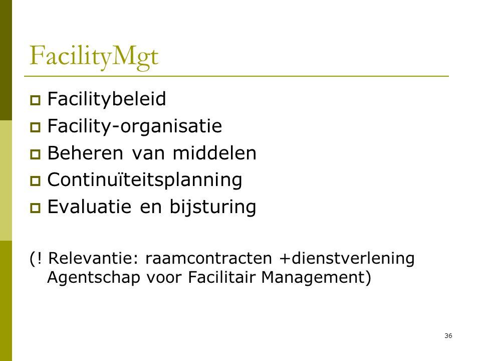 36 FacilityMgt  Facilitybeleid  Facility-organisatie  Beheren van middelen  Continuïteitsplanning  Evaluatie en bijsturing (! Relevantie: raamcon