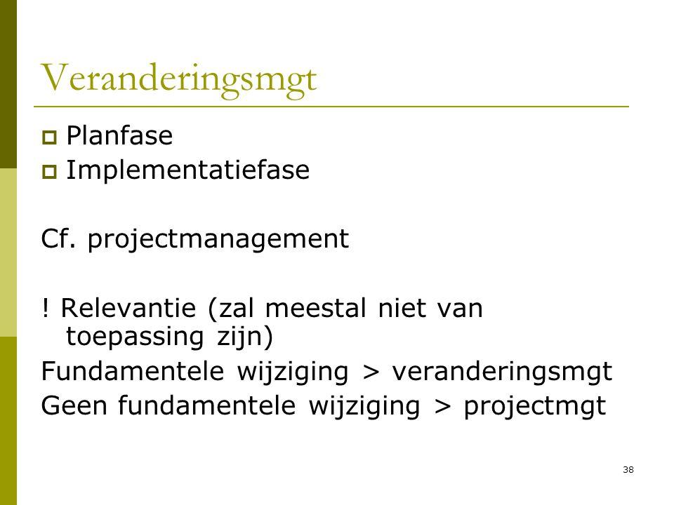 38 Veranderingsmgt  Planfase  Implementatiefase Cf. projectmanagement ! Relevantie (zal meestal niet van toepassing zijn) Fundamentele wijziging > v