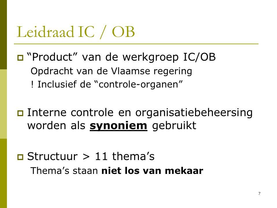 """7  """"Product"""" van de werkgroep IC/OB Opdracht van de Vlaamse regering ! Inclusief de """"controle-organen""""  Interne controle en organisatiebeheersing wo"""