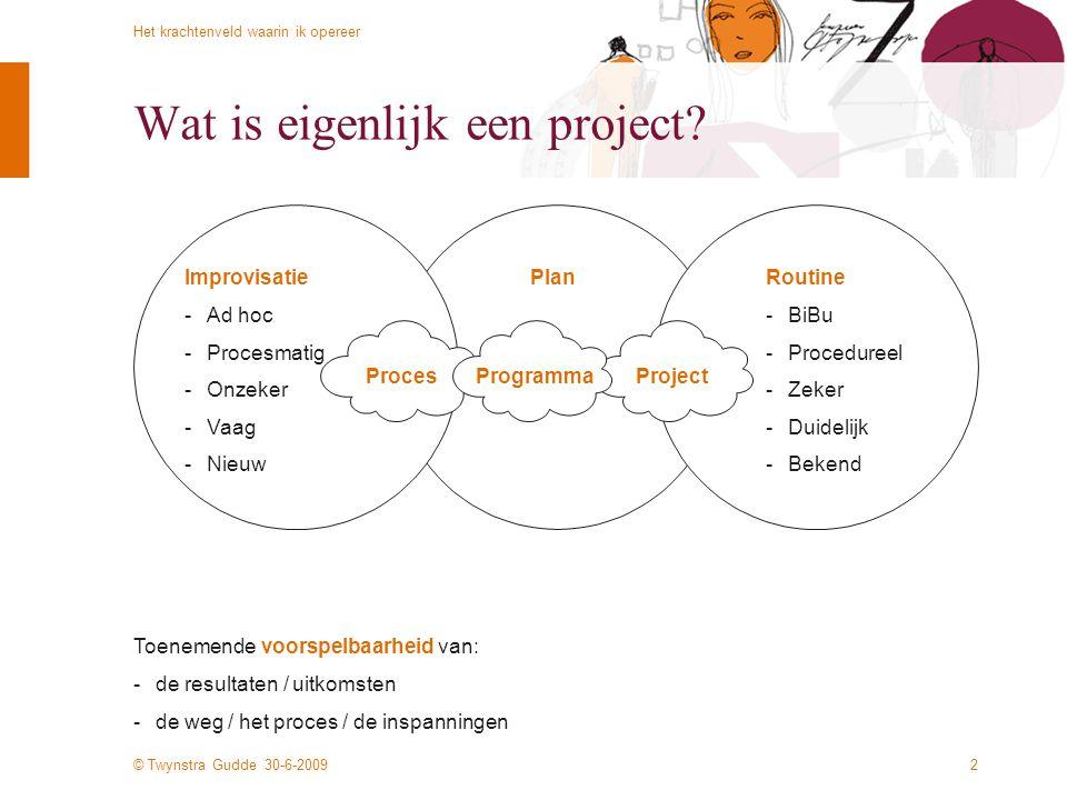 © Twynstra Gudde 30-6-2009 Het krachtenveld waarin ik opereer 2 Wat is eigenlijk een project? Toenemende voorspelbaarheid van: de resultaten / uitkom