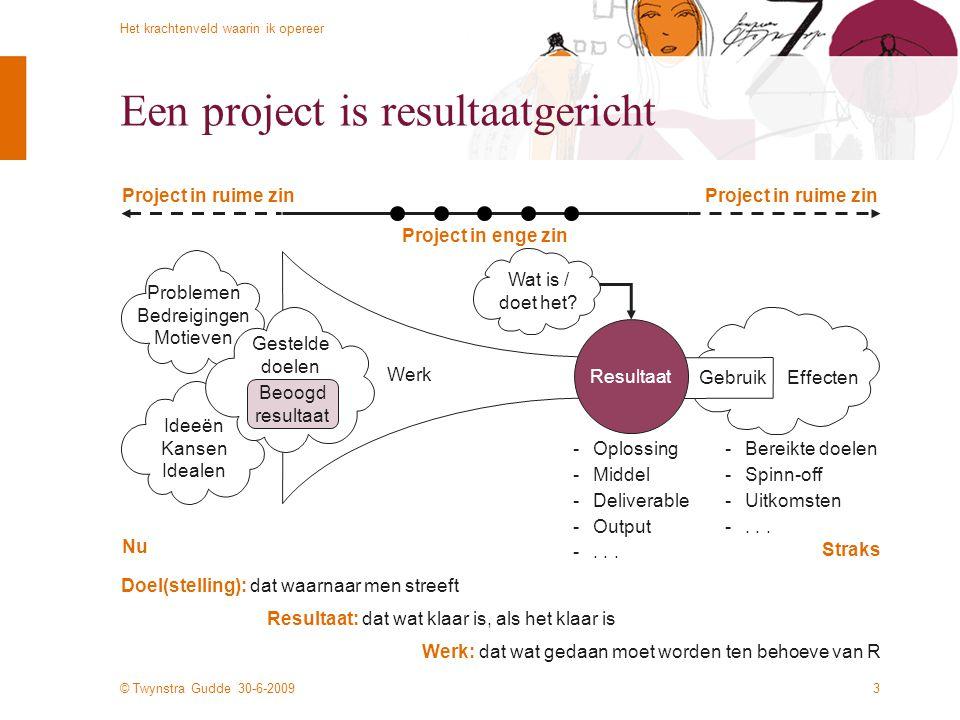 © Twynstra Gudde 30-6-2009 Het krachtenveld waarin ik opereer 3 Een project is resultaatgericht Effecten Werk: dat wat gedaan moet worden ten behoeve
