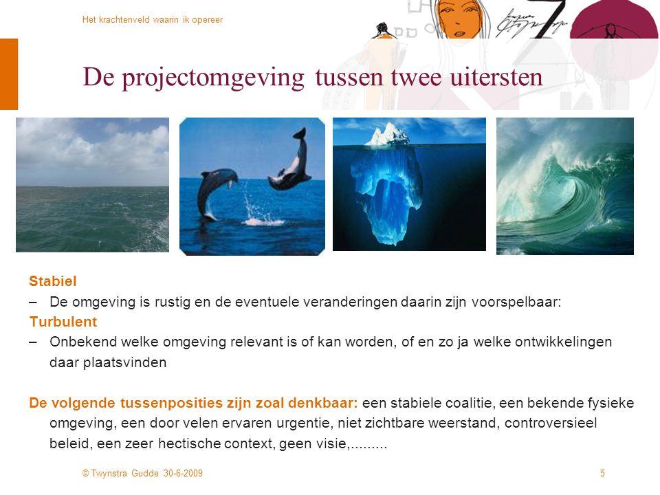 © Twynstra Gudde 30-6-2009 Het krachtenveld waarin ik opereer 5 De projectomgeving tussen twee uitersten Stabiel –De omgeving is rustig en de eventuel