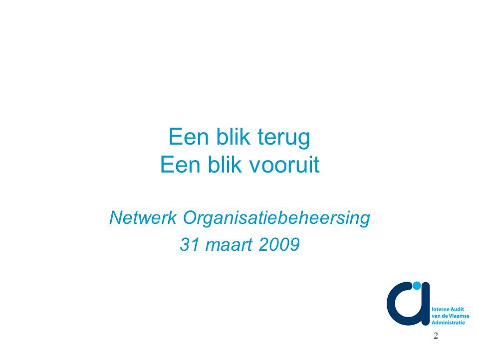 2 Een blik terug Een blik vooruit Netwerk Organisatiebeheersing 31 maart 2009