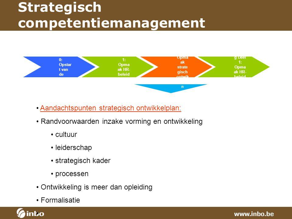 Strategisch competentiemanagement Aandachtspunten strategisch ontwikkelplan: Randvoorwaarden inzake vorming en ontwikkeling cultuur leiderschap strate