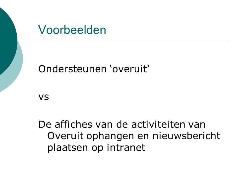 Voorbeelden Ondersteunen 'overuit' vs De affiches van de activiteiten van Overuit ophangen en nieuwsbericht plaatsen op intranet