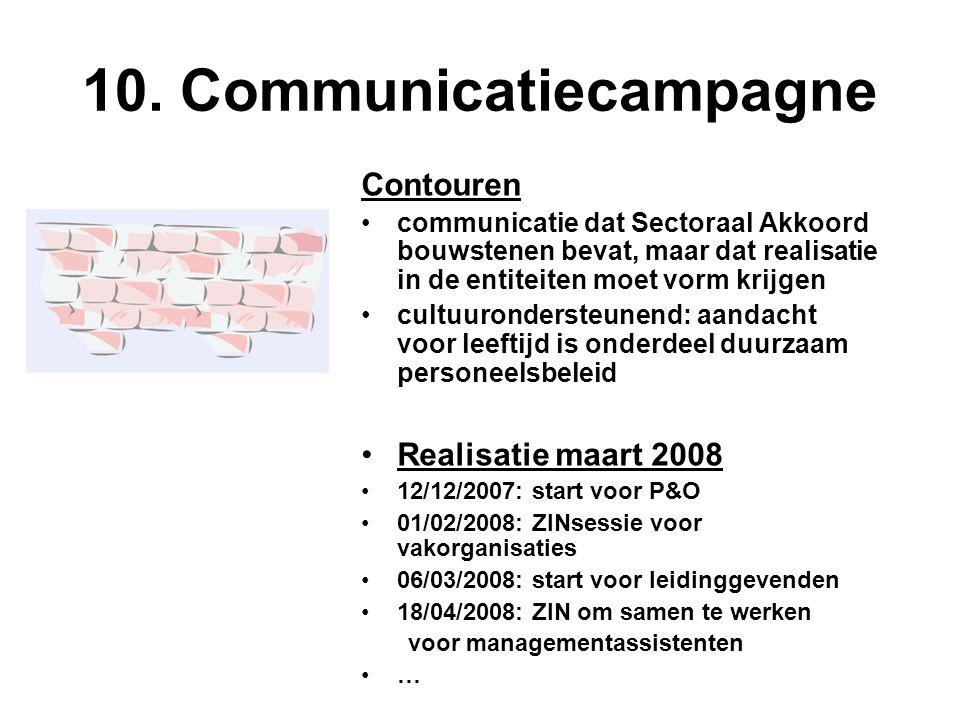 10. Communicatiecampagne Contouren communicatie dat Sectoraal Akkoord bouwstenen bevat, maar dat realisatie in de entiteiten moet vorm krijgen cultuur