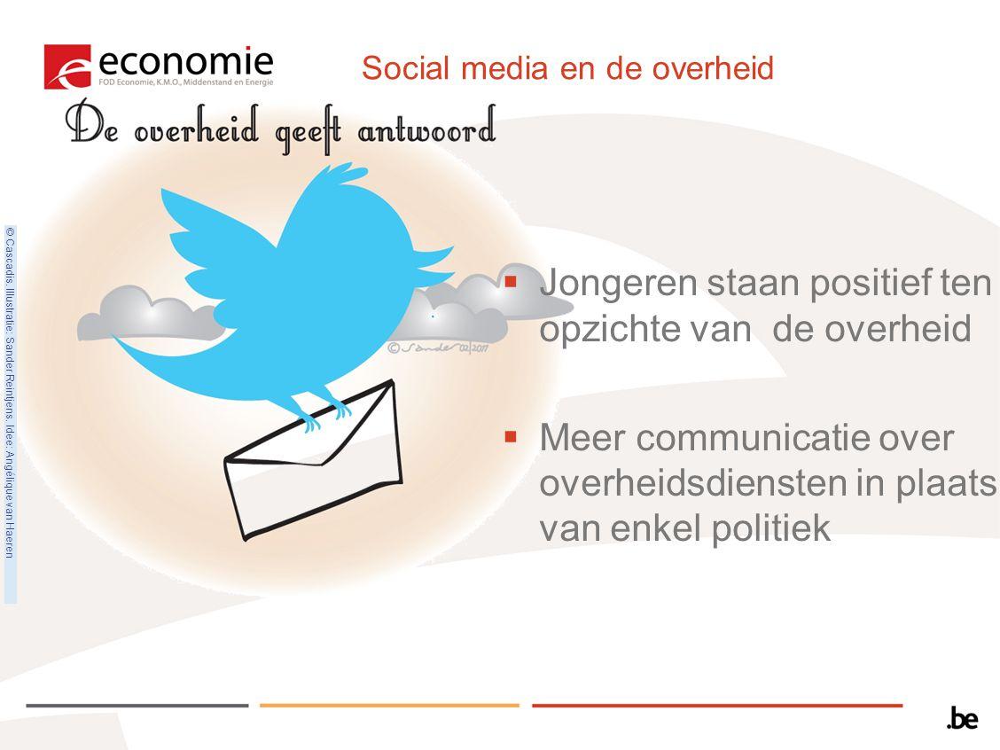 Social media en de overheid  Jongeren staan positief ten opzichte van de overheid  Meer communicatie over overheidsdiensten in plaats van enkel poli