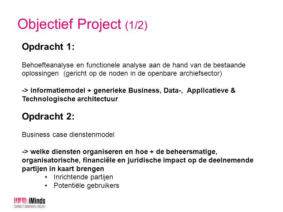 Objectief Project (2/2) Opgelet: Scope: enkel duurzame opslag (dus geen digitalisering, selectie, …maar wel ontsluiting) Resultaat: business case, geen oplossing Uitvoering opdrachten: PricewaterhouseCoopers (PwC)