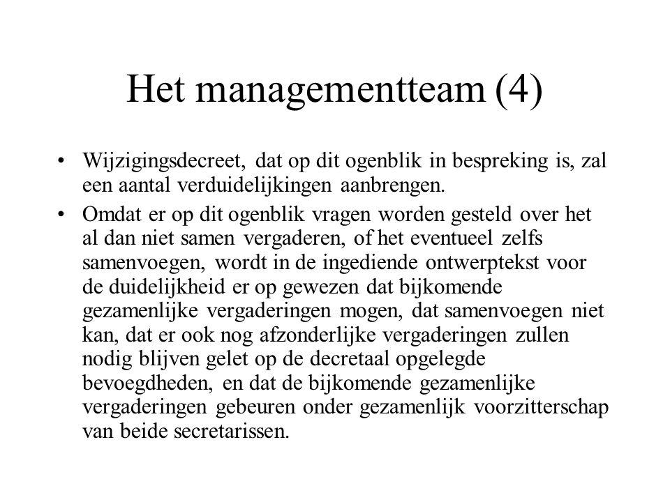 Het managementteam (4) Wijzigingsdecreet, dat op dit ogenblik in bespreking is, zal een aantal verduidelijkingen aanbrengen. Omdat er op dit ogenblik