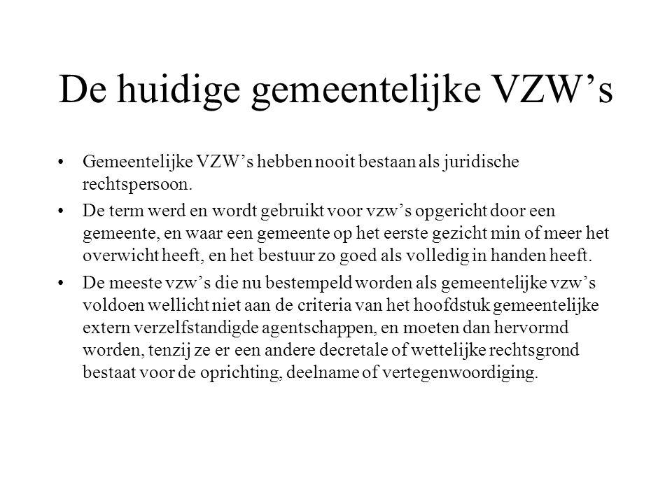 De huidige gemeentelijke VZW's Gemeentelijke VZW's hebben nooit bestaan als juridische rechtspersoon.