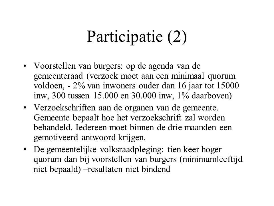 Participatie (2) Voorstellen van burgers: op de agenda van de gemeenteraad (verzoek moet aan een minimaal quorum voldoen, - 2% van inwoners ouder dan 16 jaar tot 15000 inw, 300 tussen 15.000 en 30.000 inw, 1% daarboven) Verzoekschriften aan de organen van de gemeente.