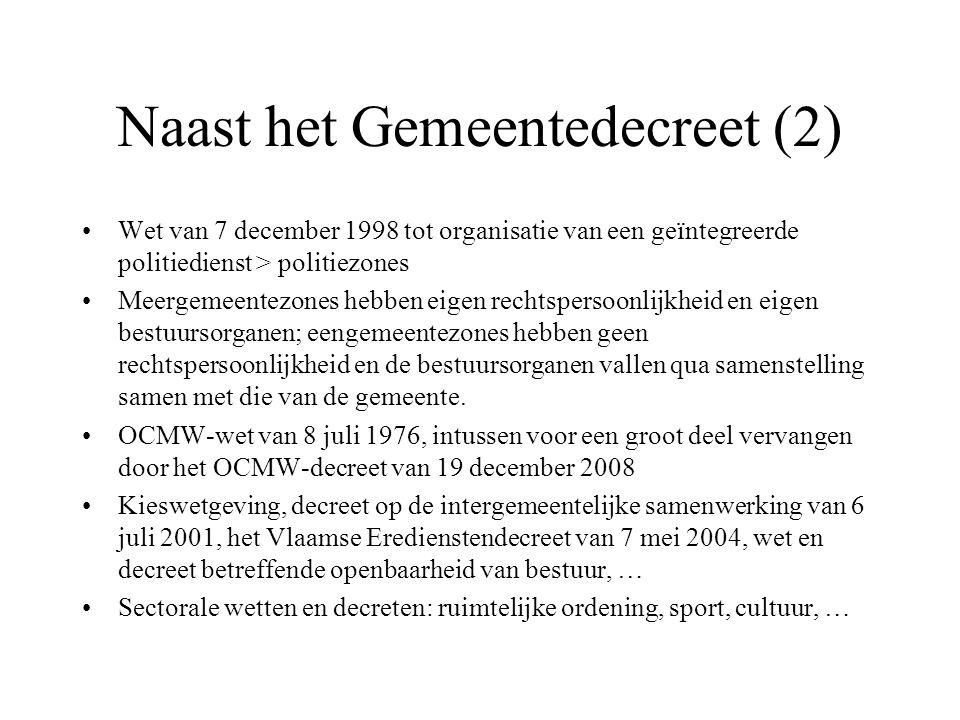 Naast het Gemeentedecreet (2) Wet van 7 december 1998 tot organisatie van een geïntegreerde politiedienst > politiezones Meergemeentezones hebben eige