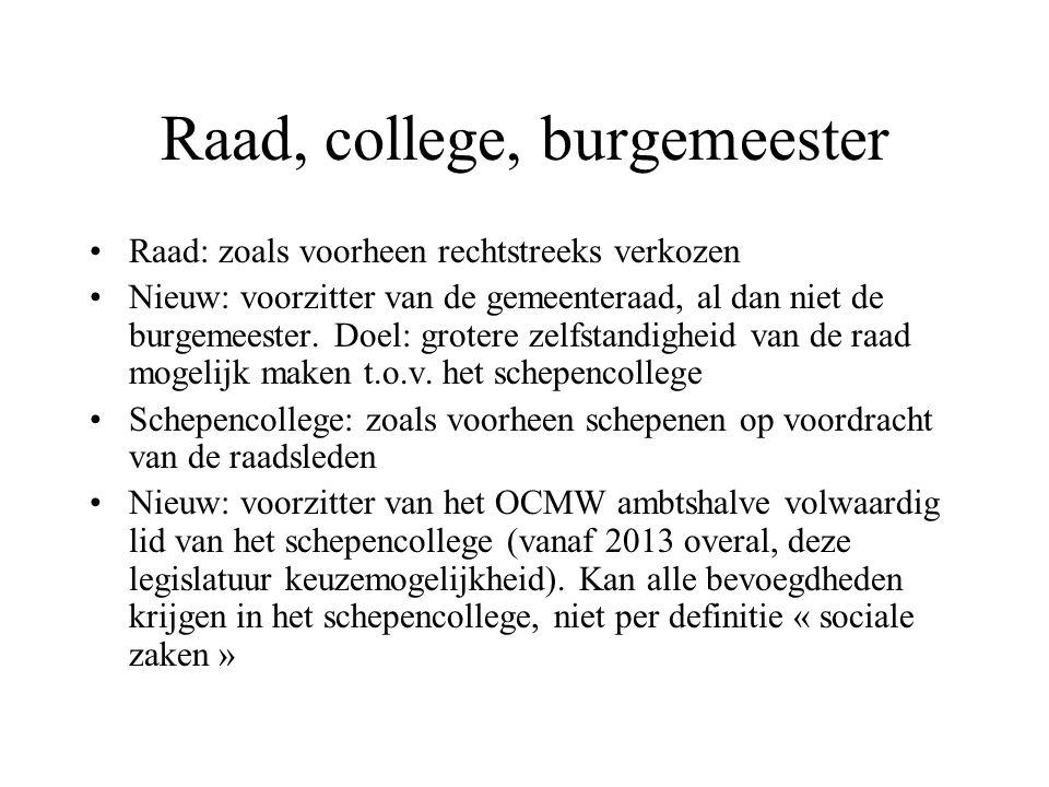 Raad, college, burgemeester Raad: zoals voorheen rechtstreeks verkozen Nieuw: voorzitter van de gemeenteraad, al dan niet de burgemeester.