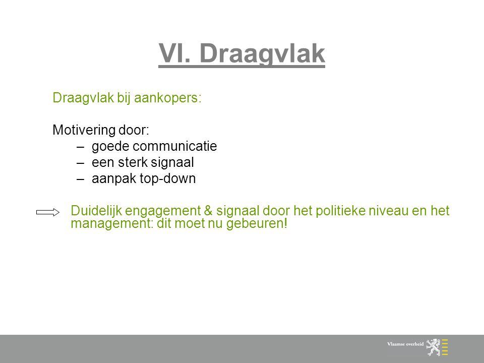 VI. Draagvlak Draagvlak bij aankopers: Motivering door: –goede communicatie –een sterk signaal –aanpak top-down Duidelijk engagement & signaal door he