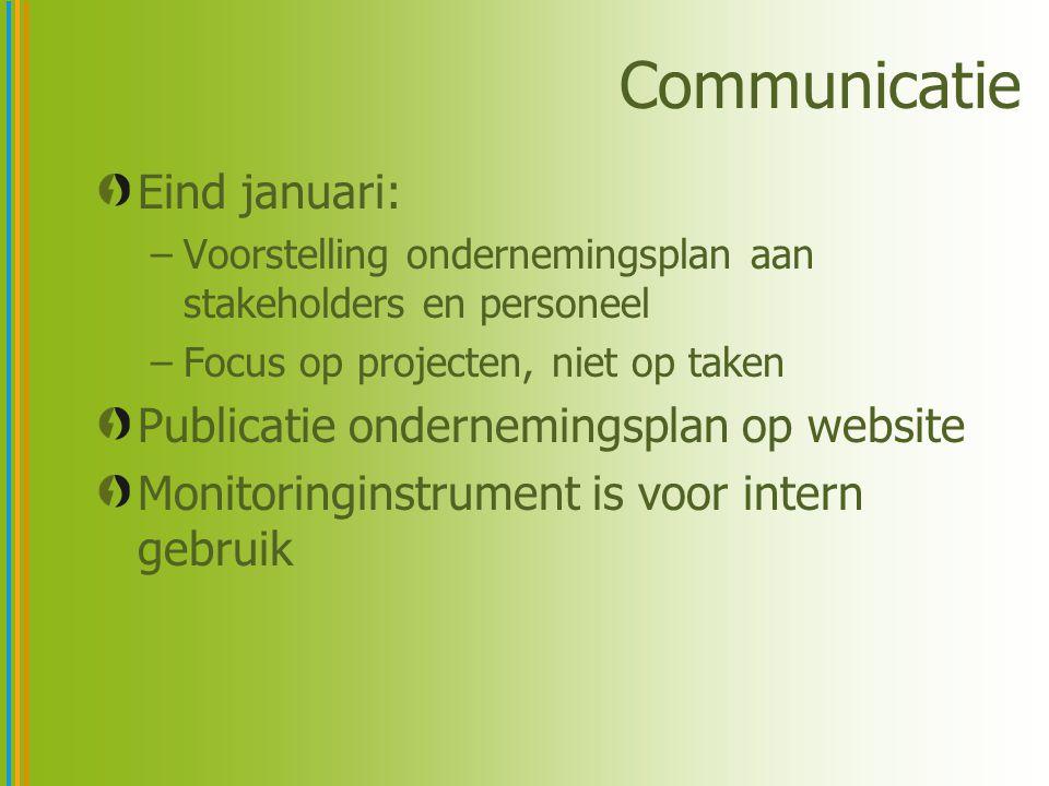 Communicatie Eind januari: –Voorstelling ondernemingsplan aan stakeholders en personeel –Focus op projecten, niet op taken Publicatie ondernemingsplan op website Monitoringinstrument is voor intern gebruik