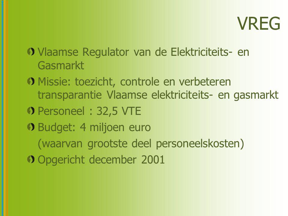 VREG Vlaamse Regulator van de Elektriciteits- en Gasmarkt Missie: toezicht, controle en verbeteren transparantie Vlaamse elektriciteits- en gasmarkt Personeel : 32,5 VTE Budget: 4 miljoen euro (waarvan grootste deel personeelskosten) Opgericht december 2001