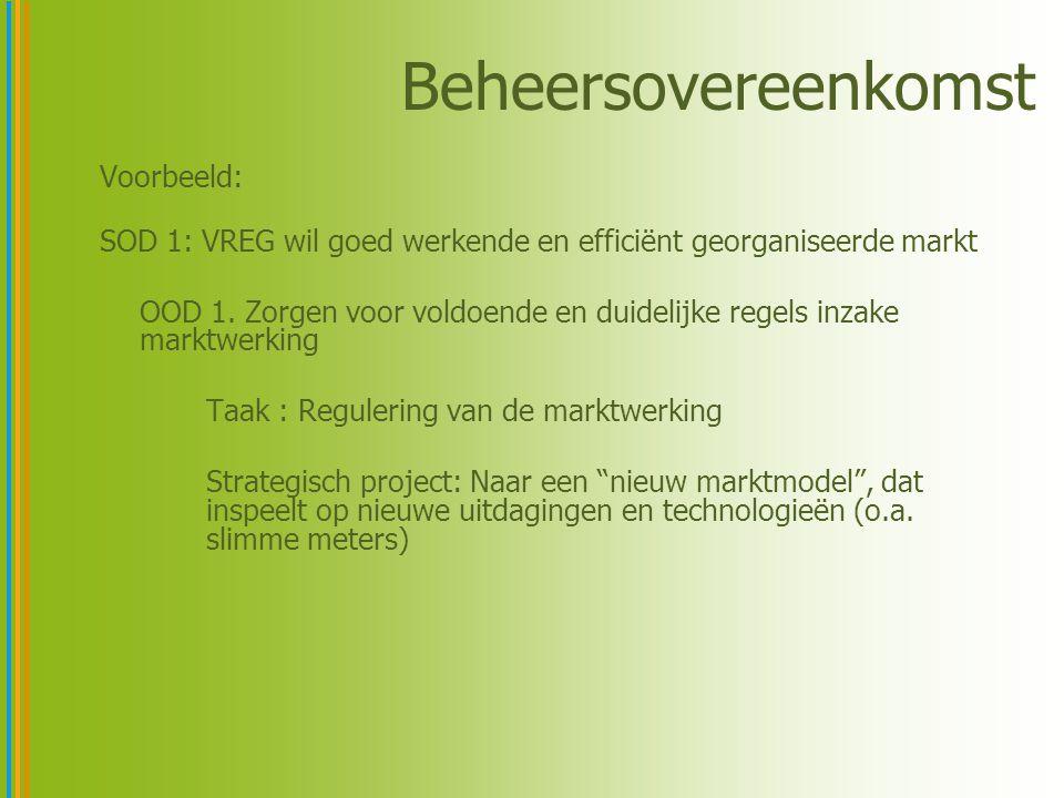 Beheersovereenkomst Voorbeeld: SOD 1: VREG wil goed werkende en efficiënt georganiseerde markt OOD 1.