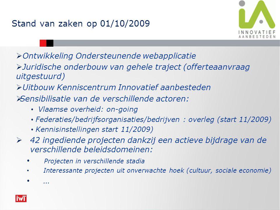  Ontwikkeling Ondersteunende webapplicatie  Juridische onderbouw van gehele traject (offerteaanvraag uitgestuurd)  Uitbouw Kenniscentrum Innovatief aanbesteden  Sensibilisatie van de verschillende actoren: Vlaamse overheid: on-going Federaties/bedrijfsorganisaties/bedrijven : overleg (start 11/2009) Kennisinstellingen start 11/2009)  42 ingediende projecten dankzij een actieve bijdrage van de verschillende beleidsdomeinen: Projecten in verschillende stadia Interessante projecten uit onverwachte hoek (cultuur, sociale economie) … Stand van zaken op 01/10/2009