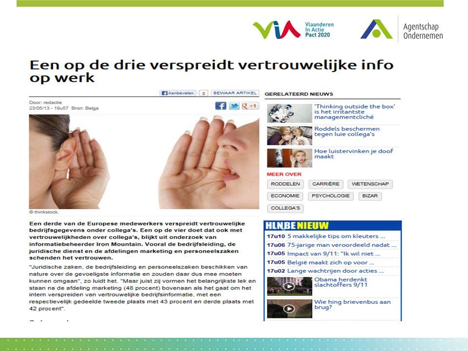 Openbaarheid van bestuur Zeer toegankelijke informatie via publieke website Vlaamse overheid http://www.vlaanderen.be/nl/overheid/regelgeving/inzage-bestuursdocumenten- openbaarheid-van-bestuur Meer gedetailleerde informatie vind je via http://openbaarheid.vlaanderen.be/nlapps/default.asp
