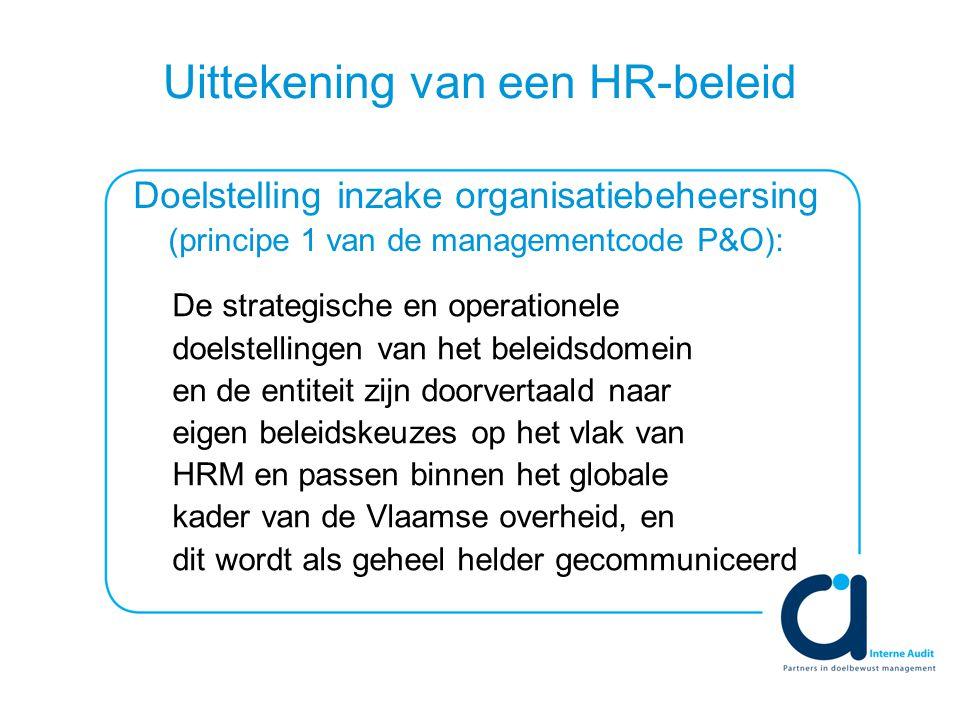 Uittekening van een HR-beleid De strategische en operationele doelstellingen van het beleidsdomein en de entiteit zijn doorvertaald naar eigen beleidskeuzes op het vlak van HRM en passen binnen het globale kader van de Vlaamse overheid, en dit wordt als geheel helder gecommuniceerd Doelstelling inzake organisatiebeheersing (principe 1 van de managementcode P&O):