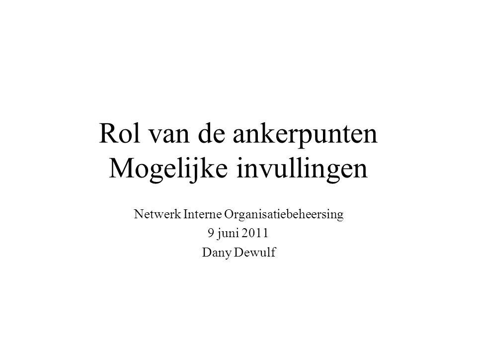 Rol van de ankerpunten Mogelijke invullingen Netwerk Interne Organisatiebeheersing 9 juni 2011 Dany Dewulf