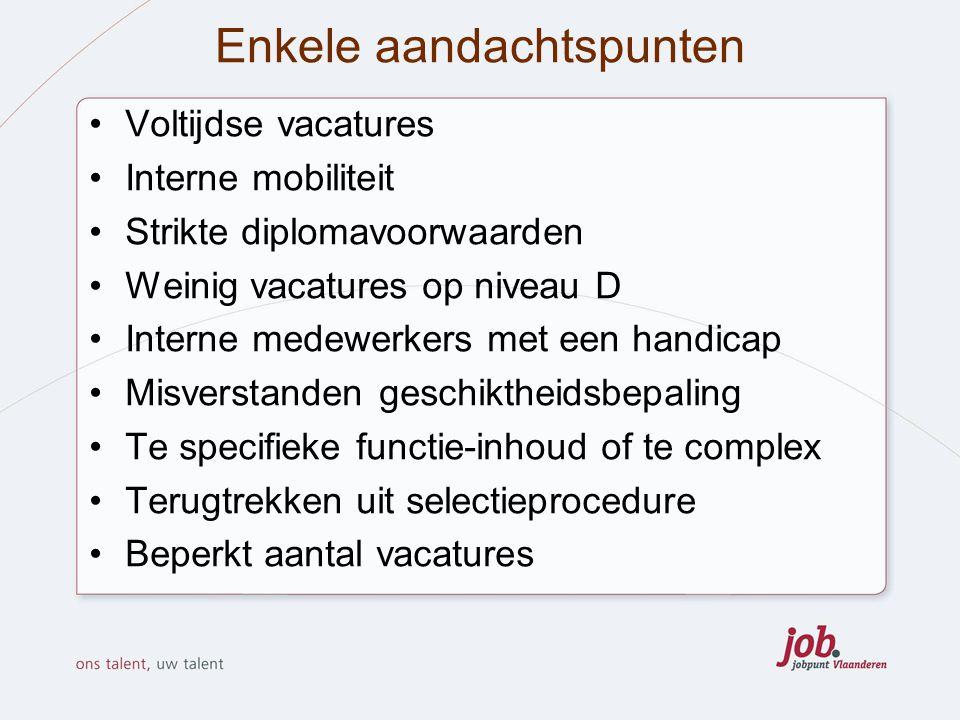 Enkele aandachtspunten Voltijdse vacatures Interne mobiliteit Strikte diplomavoorwaarden Weinig vacatures op niveau D Interne medewerkers met een hand